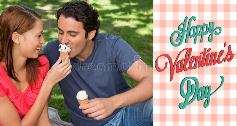 Composite image of cute valentines couple. Woman feeding her friend ice cream against happy valentines day vector illustration