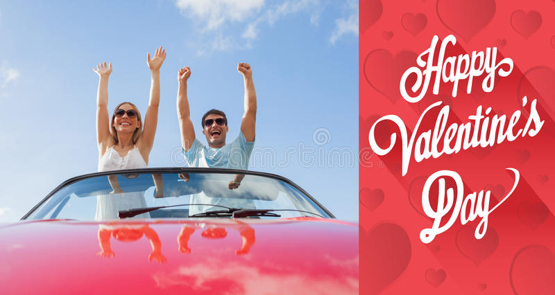 Composite image of cute valentines message. Cute valentines message against crazy couple standing in red cabriolet royalty free stock photo