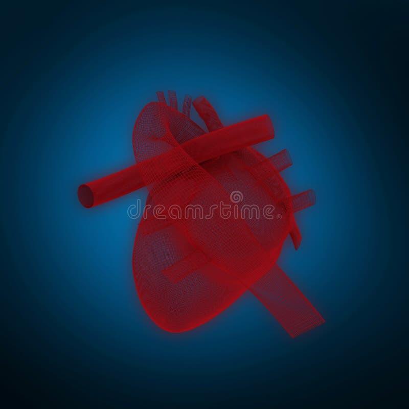 Composite image of 3d illustration of human heart. 3d illustration of human heart against blue background with vignette royalty free illustration