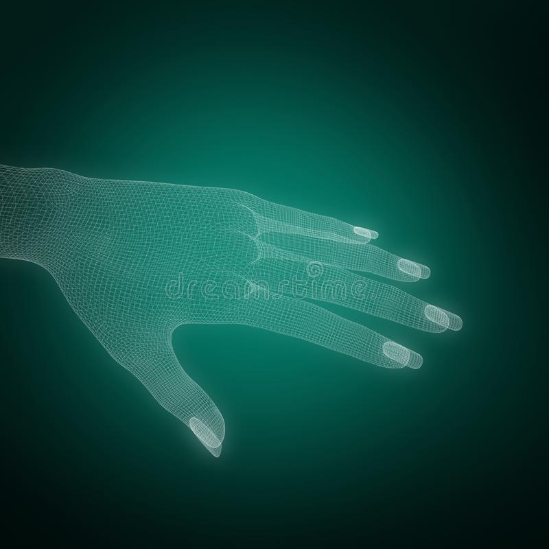 Composite image of 3d illustration image of white human hand. 3d illustration image of white human hand against green background with vignette vector illustration