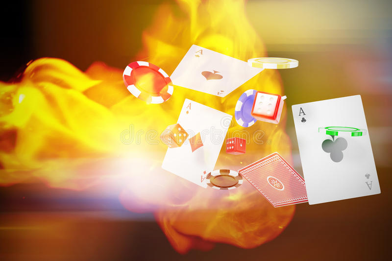 Composite image of 3d image of casino tokens with playing cards and dice. 3D image of casino tokens with playing cards and dice against defocused image of stock illustration