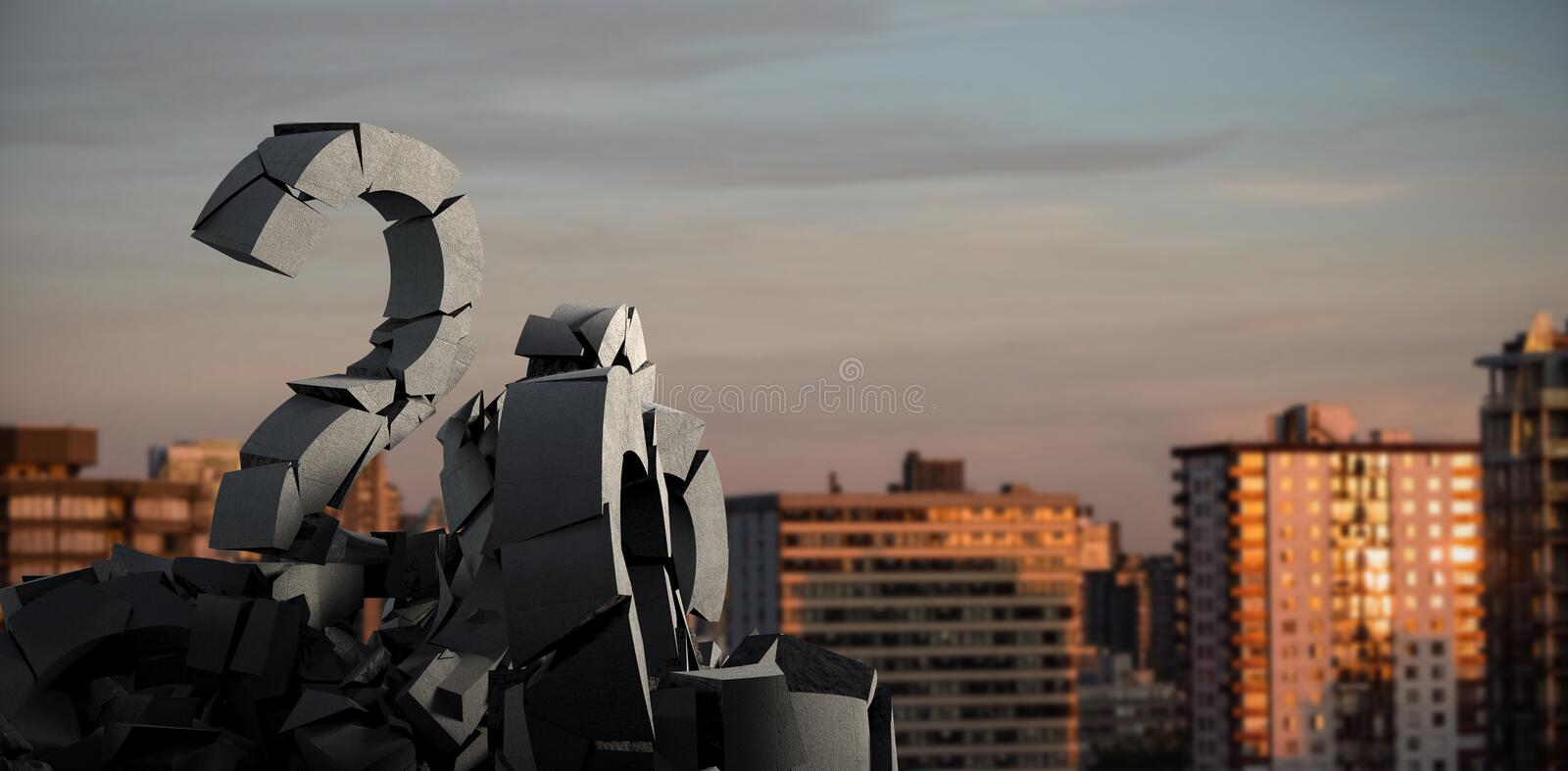 Composite image of 3d image of damaged question mark with rocks. 3d image of damaged question mark with rocks against sunlight falling on buildings during sunset stock photos
