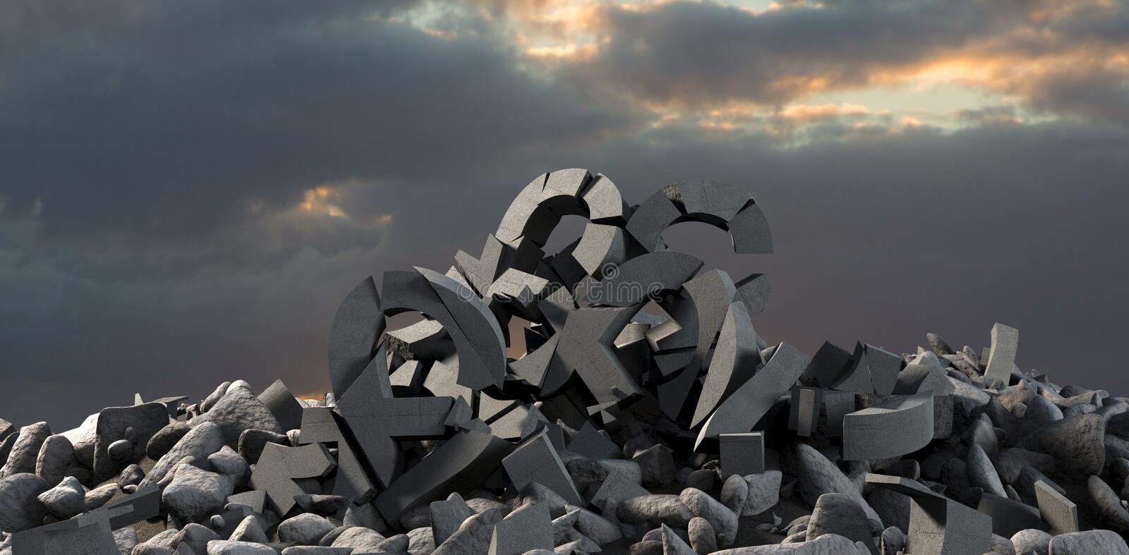 Composite image of 3d image of damaged various signs with stones vector illustration