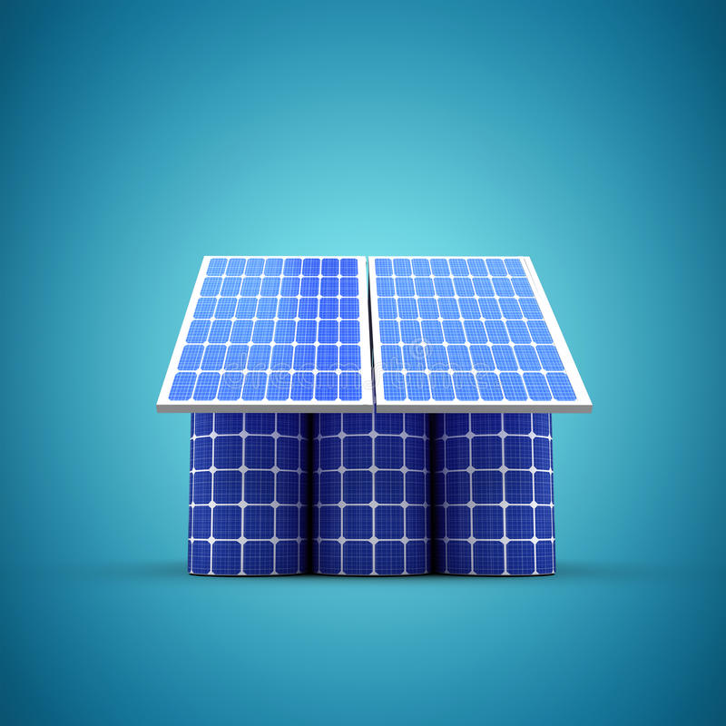 Composite image of 3d image of house model made from solar cell and panels royalty free illustration