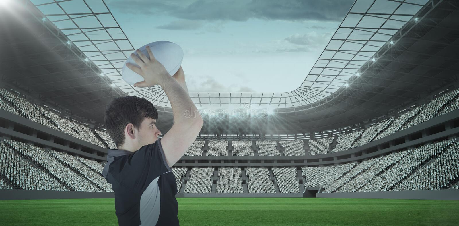 Composite image 3D of profile view of rugby player throwing a ball stock image