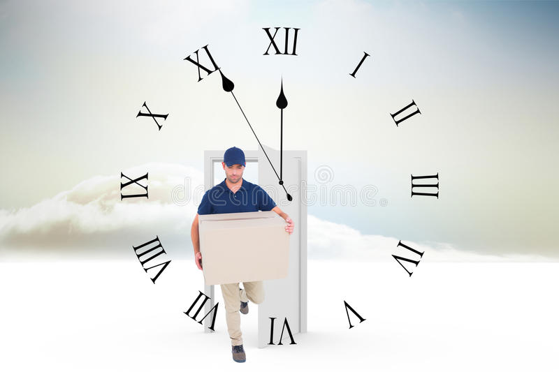 Composite image of delivery man with cardboard box running on white background stock images