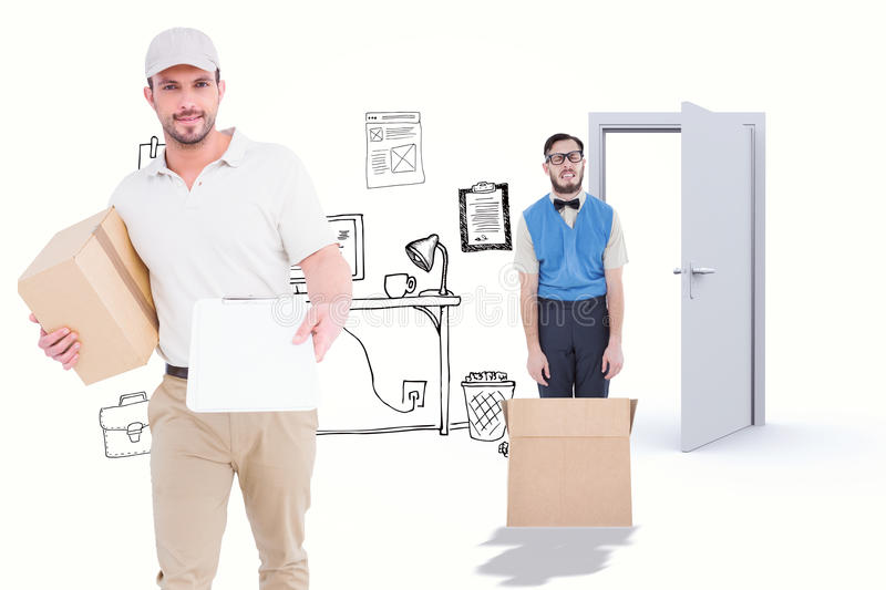 Composite image of delivery man with cardboard box showing clipboard royalty free stock photography