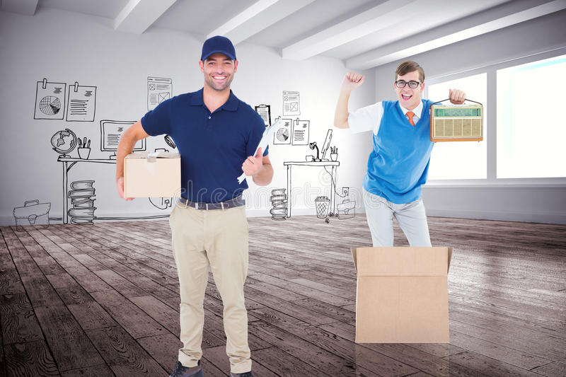 Composite image of delivery man with package and clipboard on white background stock photo