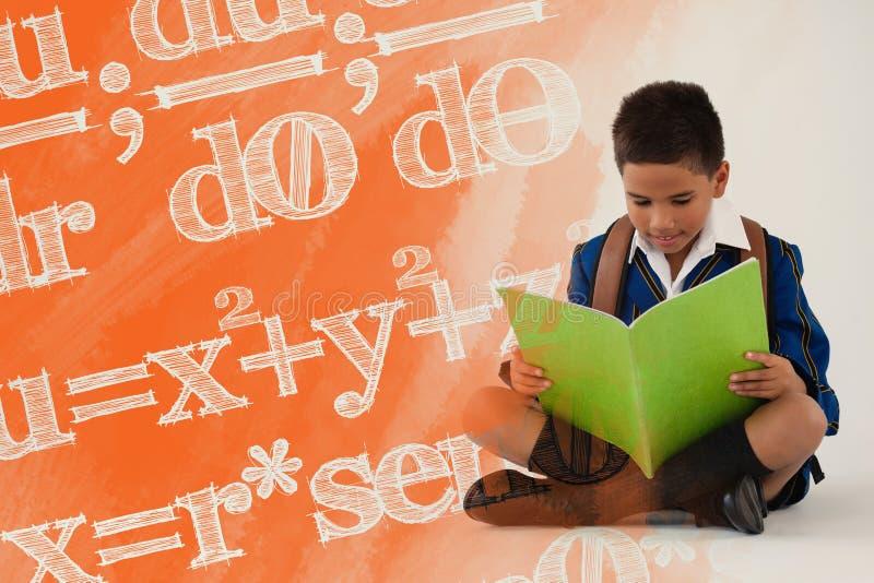 Composite image of digital composite image of algebraic formulas. Digital composite image of algebraic formulas against schoolboy reading book on white stock illustration