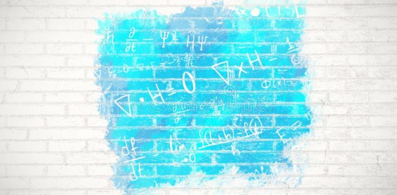 Composite image of digital composite image of algebraic formulas. Digital composite image of algebraic formulas against white wall vector illustration