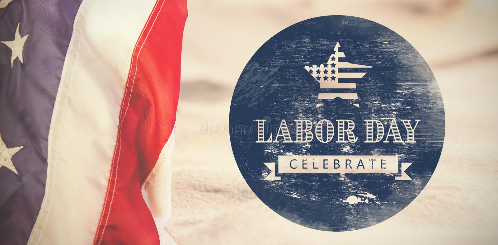 Composite image of digital composite image of celebrate labor day text with american flag on blue po royalty free illustration