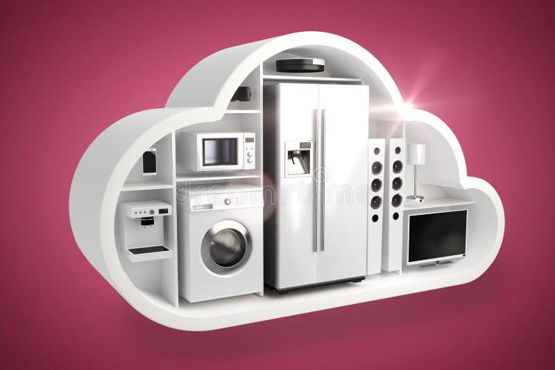 Composite image of digital composite image of home appliances in cloud 3d vector illustration