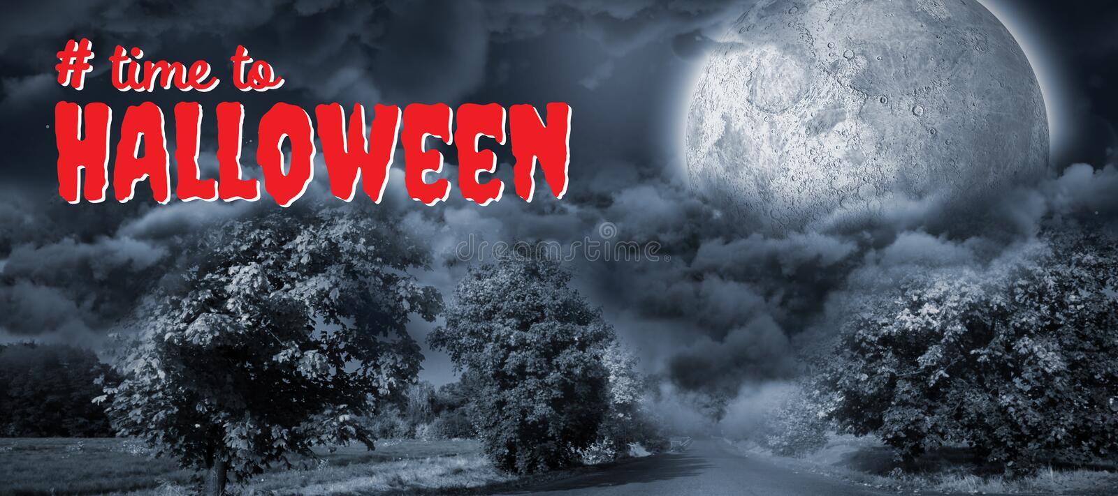 Composite image of digital composite image of time to halloween text. Digital composite image of time to Halloween text against landscape of a road between trees royalty free stock photo