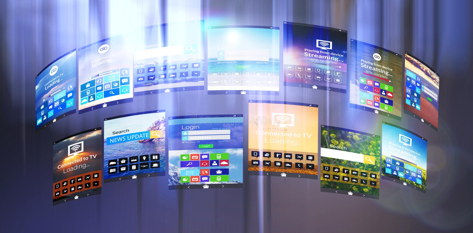 Composite image of digital composite image of various device screens stock illustration