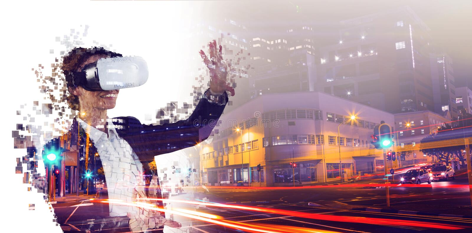 Composite image of digital composite of woman with a virtual reality simulator. Digital composite of woman with a virtual reality simulator against composite stock illustration