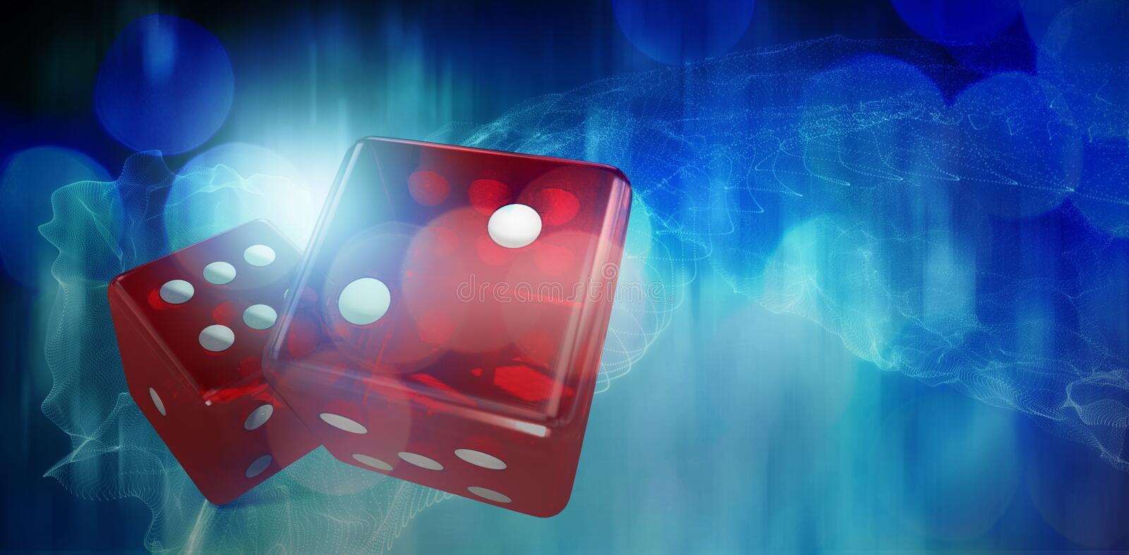 Composite image of digital 3d image of red dice. Digital 3D image of red dice against blue glowing black background stock illustration