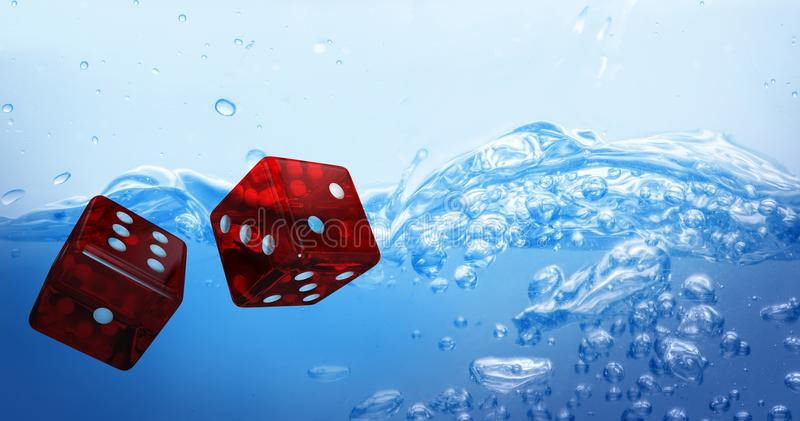 Composite image of digital composite 3d image of red dice. Digital composite 3D image of red dice against close up on blue sparkling water stock illustration