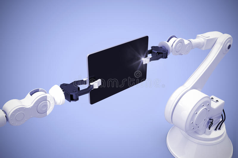 Composite image of digital generated image of robots holding computer tablet 3d royalty free illustration