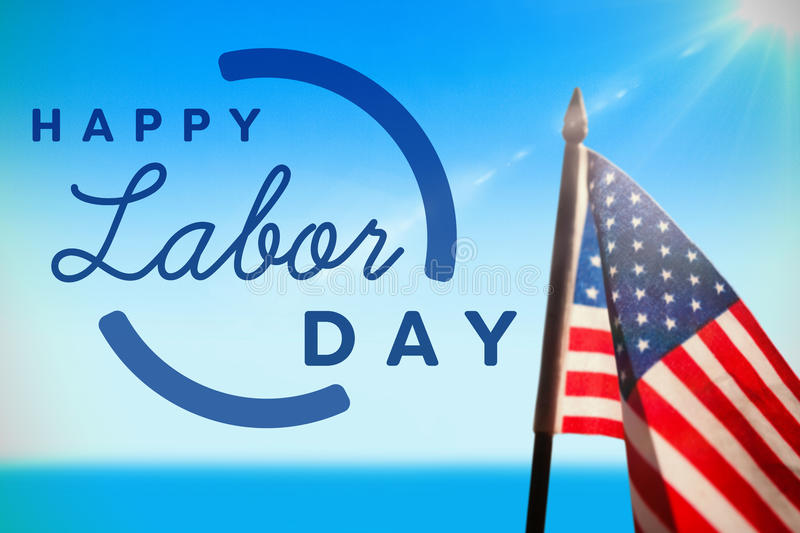 Composite image of digital composite image of happy labor day text with blue outline stock images