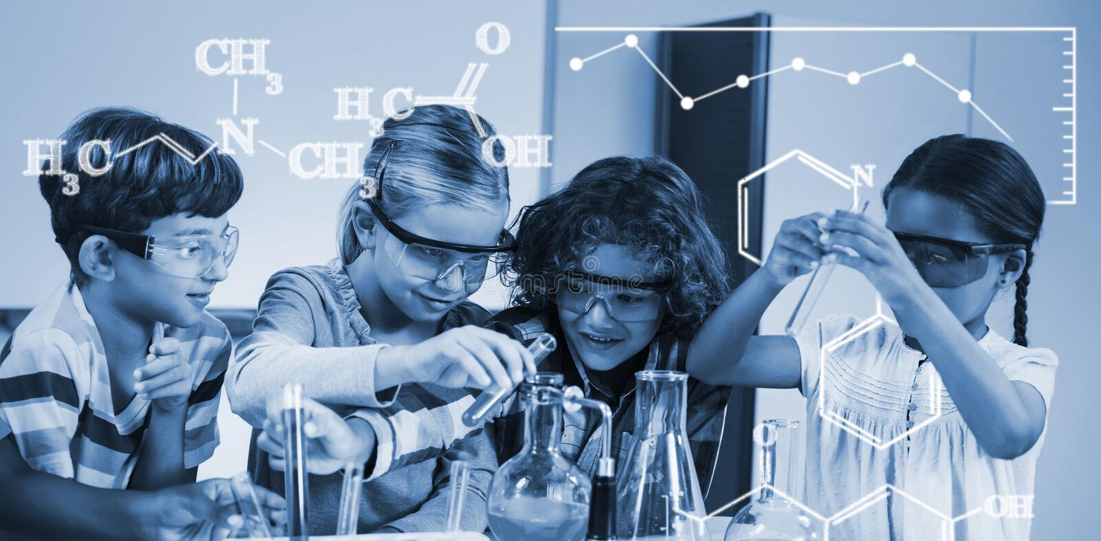 Composite image of digital image of chemical formulas stock image
