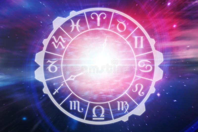 Composite image of digital image of clock with various zodiac signs royalty free illustration