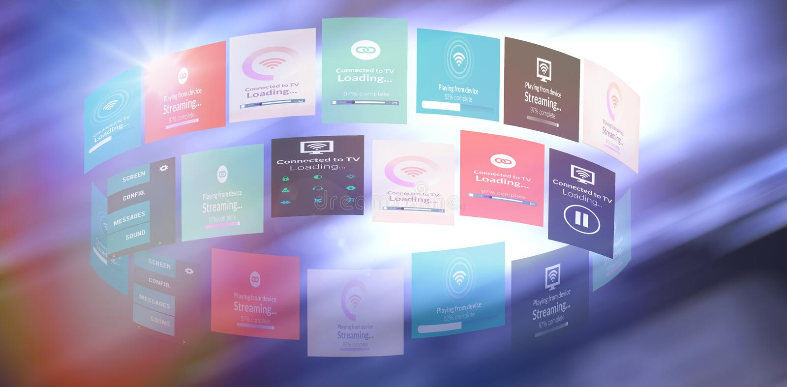 Composite image of digital image of various screens vector illustration