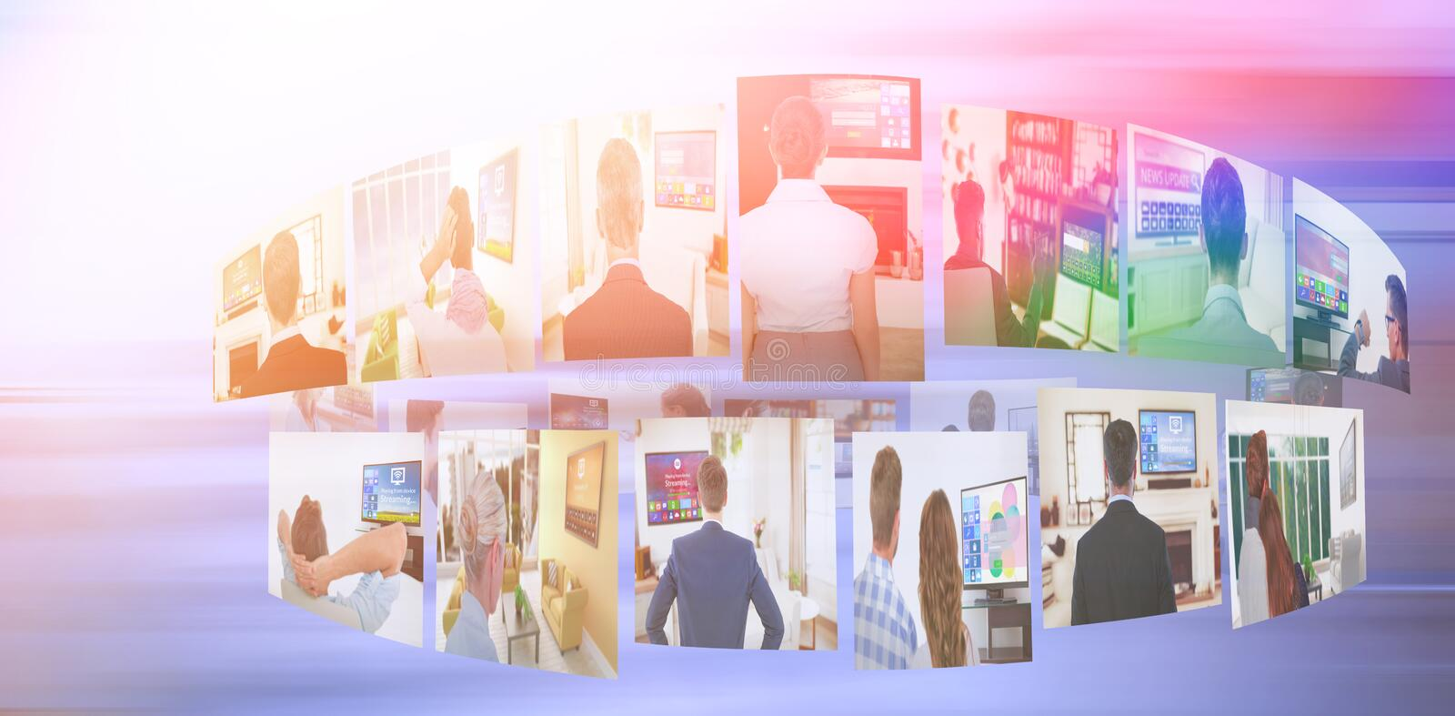 Composite image of digital image of various screens representing business people stock illustration