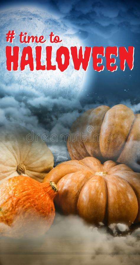 Composite image of digital composite image of time to halloween text. Digital composite image of time to Halloween text against landscape of a road between stone royalty free stock images