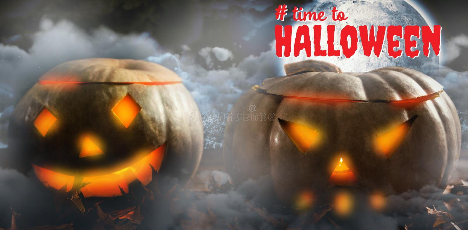 Composite image of digital composite image of time to halloween text. Digital composite image of time to Halloween text against landscape of a road between trees royalty free stock photography