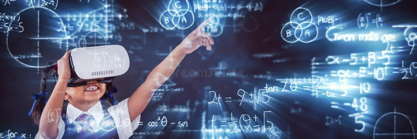Composite image of digitally composite image of mathematical equations with diagram. Digitally composite image of mathematical equations with diagram against vector illustration