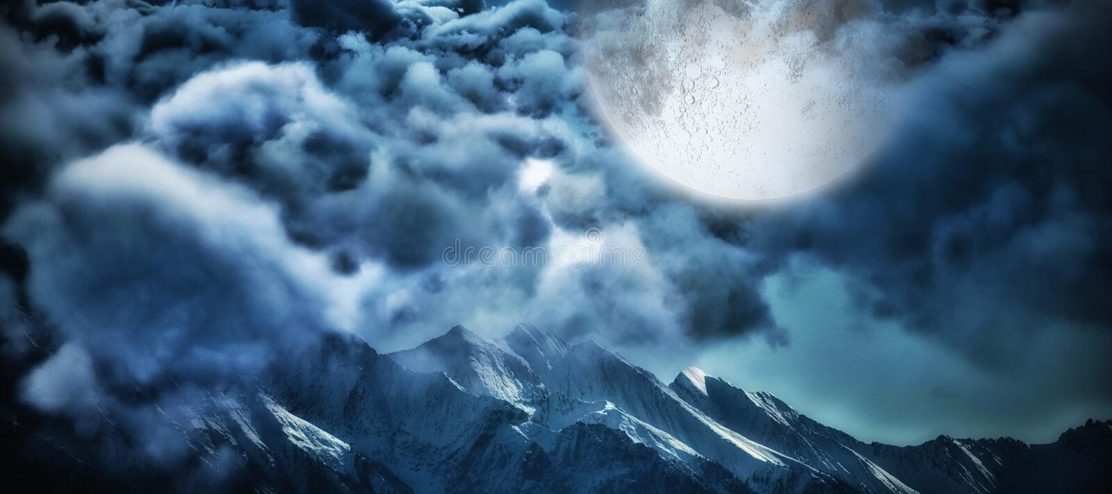 Composite image of digitally composite image of storm clouds stock illustration