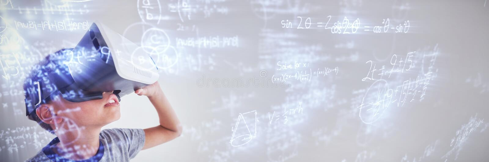 Composite image of digitally composite image of trigonometric equations with diagram and solution. Digitally composite image of trigonometric equations with royalty free illustration