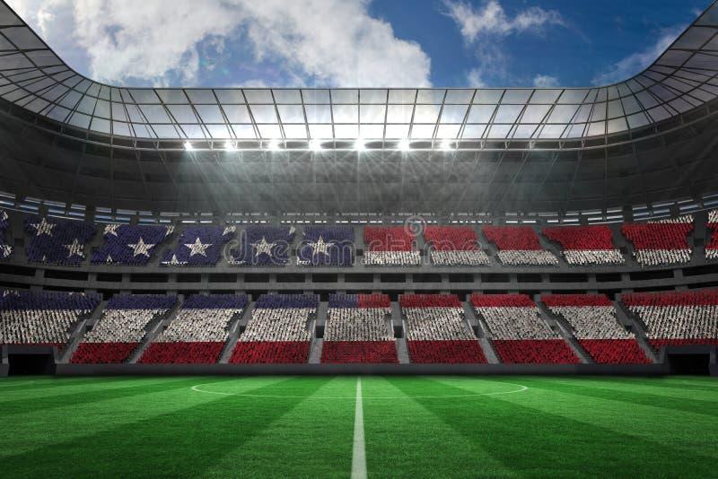 Composite image of digitally generated american national flag. Digitally generated american national flag against large football stadium vector illustration