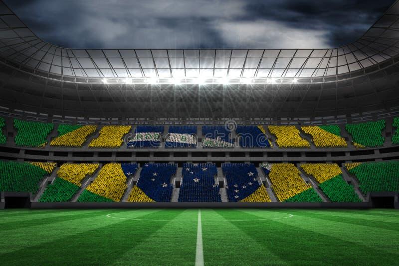 Composite image of digitally generated brazilian national flag. Digitally generated brazilian national flag against large football stadium stock illustration