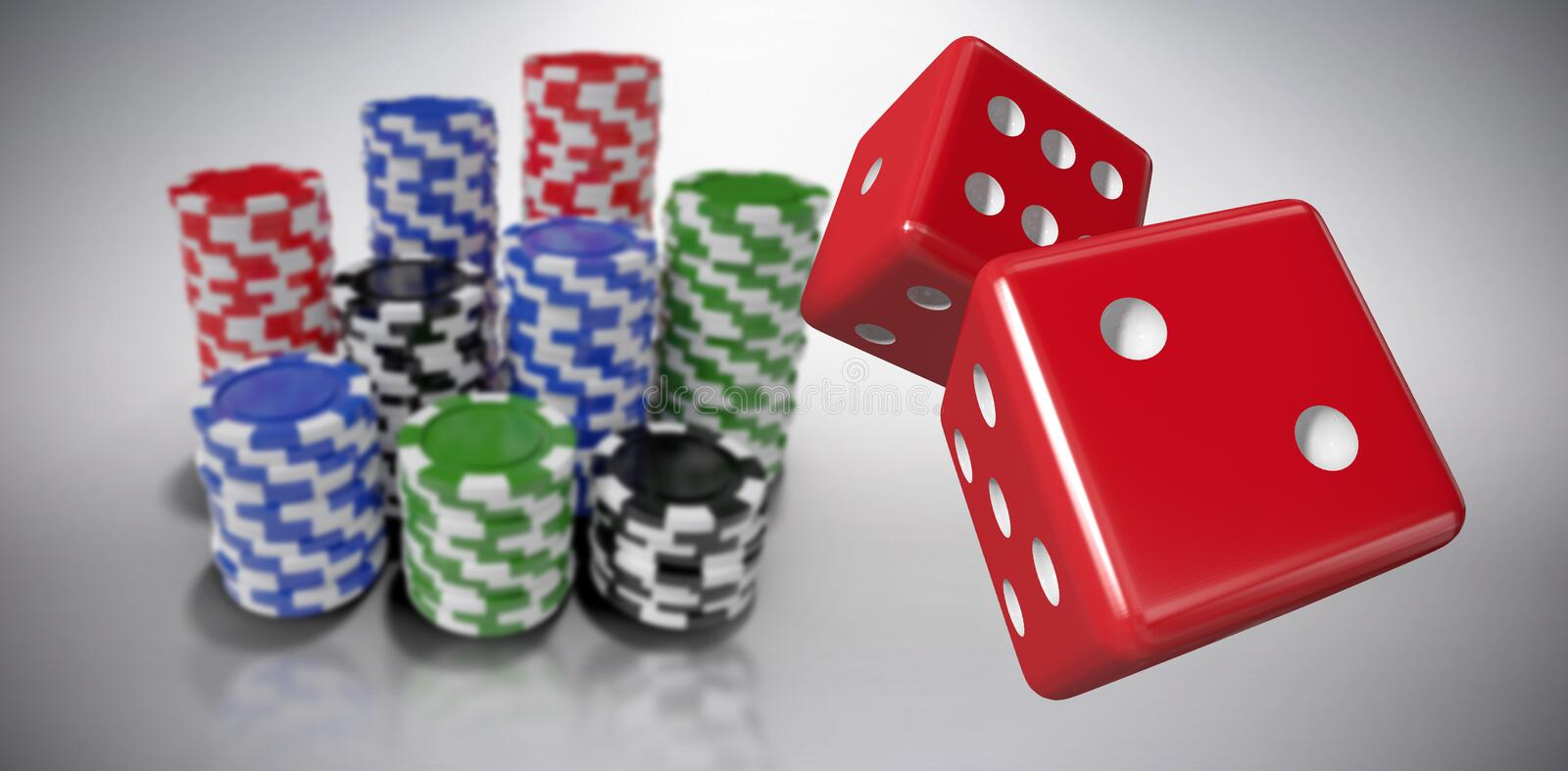 Composite image of digitally generated 3d image of red dice. Digitally generated 3D image of red dice against grey background royalty free illustration
