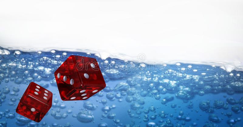 Composite image of digitally generated 3d image of red dice. Digitally generated 3D image of red dice against image of bubbles royalty free illustration