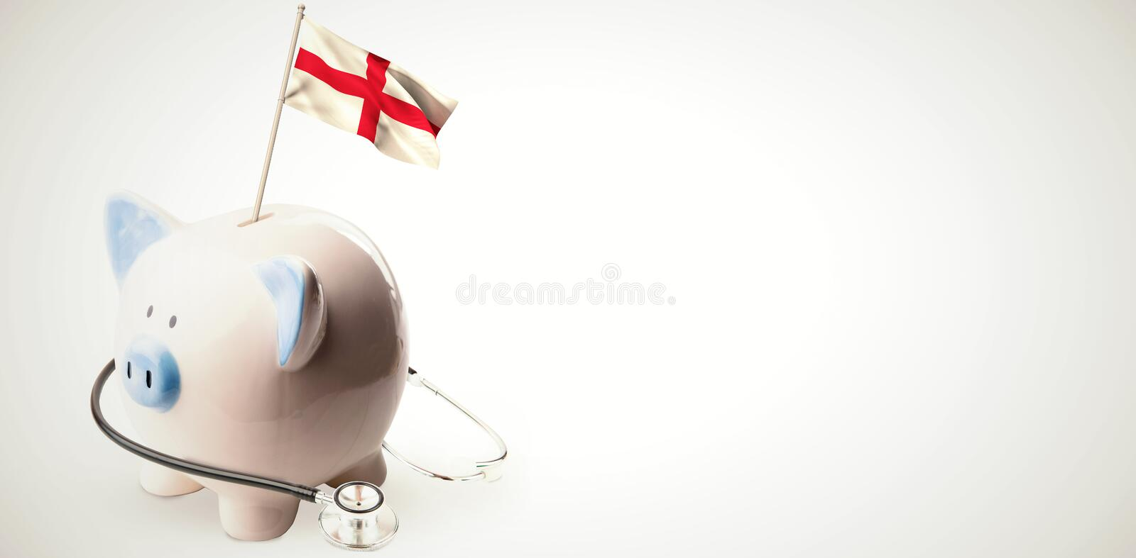 Composite image of digitally generated england national flag. Digitally generated england national flag against white background with vignette stock illustration