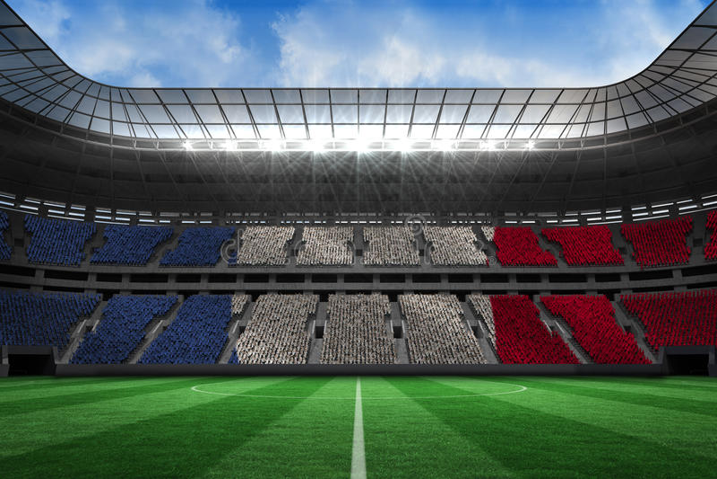 Composite image of digitally generated france national flag. Digitally generated france national flag against large football stadium royalty free illustration