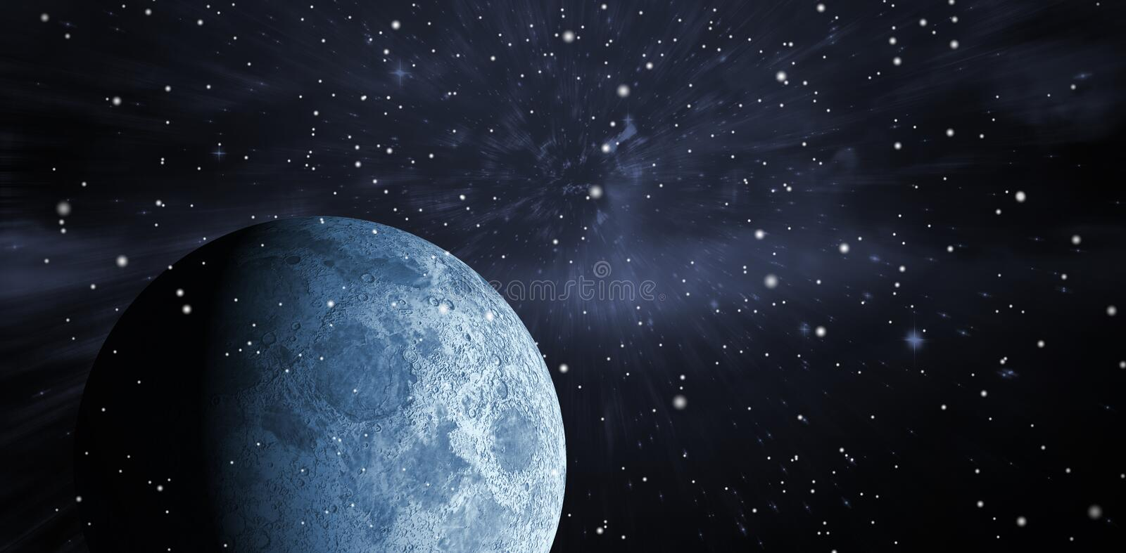 Composite image of digitally generated full grey moon. Digitally generated full grey moon against outer space stock illustration