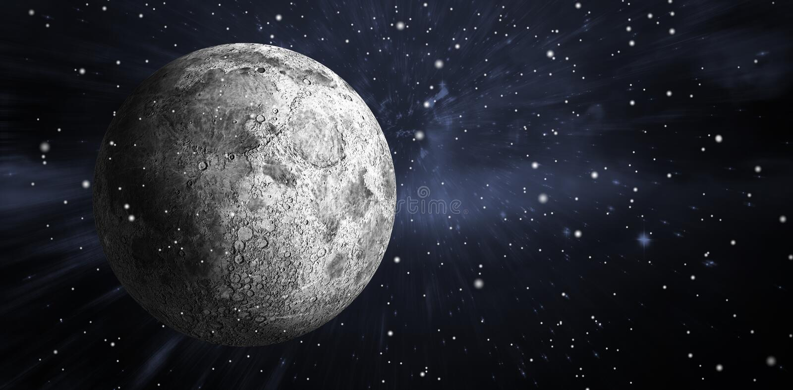 Composite image of digitally generated full grey moon. Digitally generated full grey moon against outer space royalty free illustration