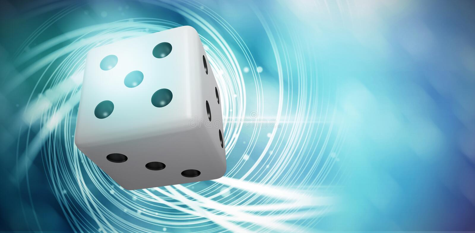 Composite image of digitally generated image of 3d dice. Digitally generated image of 3D dice against background with shiny spiral royalty free illustration