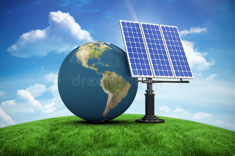 Composite image of digitally generated image of 3d globe and solar panel stock illustration