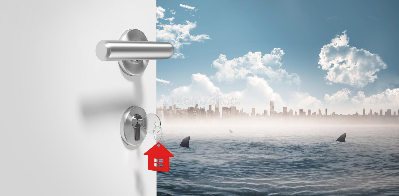 Composite image of digitally generated image of doorknob stock illustration
