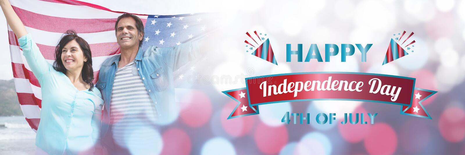 Composite image of digitally generated image of happy independence day message stock illustration