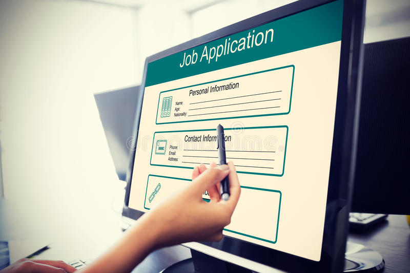 Composite image of digitally generated image of job application stock photo