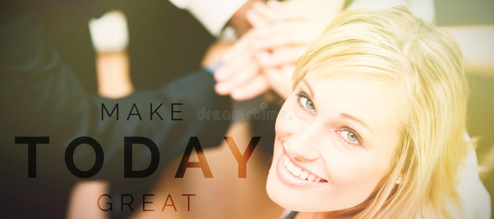 Composite image of digitally generated image of make today great text. Digitally generated image of Make Today Great text against portrait of businesswoman vector illustration