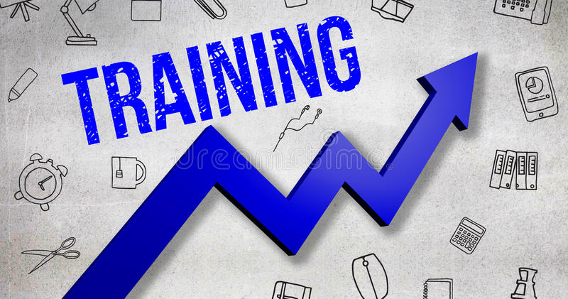 Composite image of digitally generated image of training text. Digitally generated image of Training text against black wall royalty free illustration