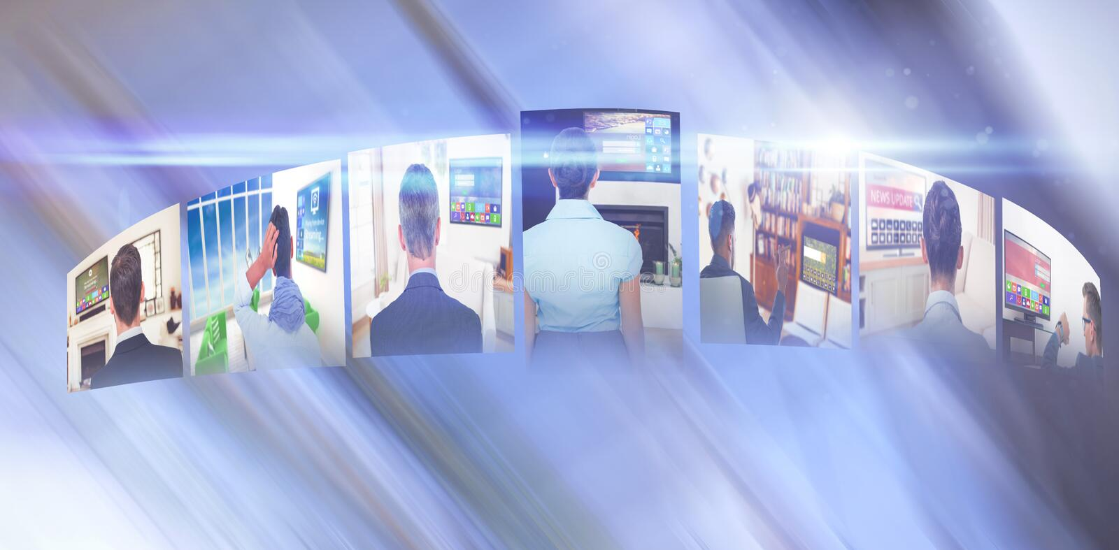 Composite image of digitally generated image of various screens representing business people royalty free illustration