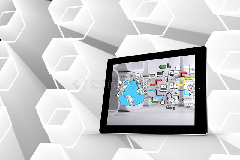 Composite image of earth brainstorm on tablet screen. Earth brainstorm on tablet screen against futuristic white hexagons stock illustration