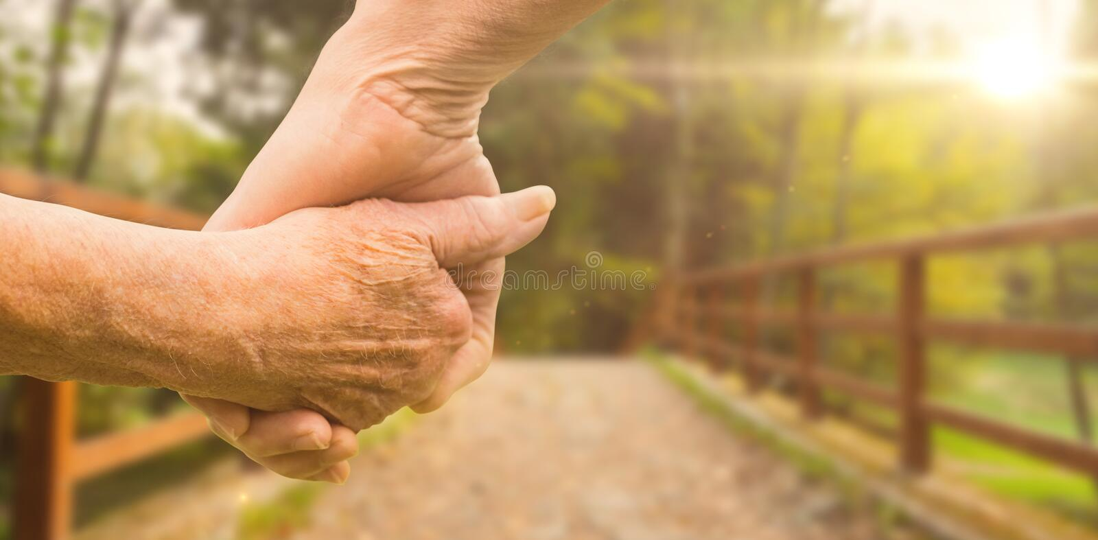 Composite image of elderly couple holding hands royalty free stock image